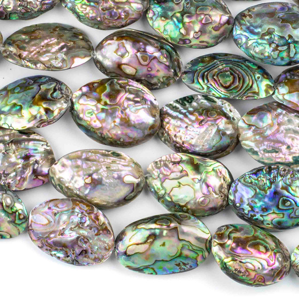 Abalone Paua Shell approximately 15x40mm Puff Nugget Beads - 16 inch strand