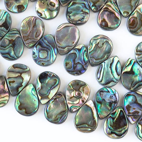 Abalone Paua Shell 13x18mm Top Drilled Teardrop Beads - 16 inch strand