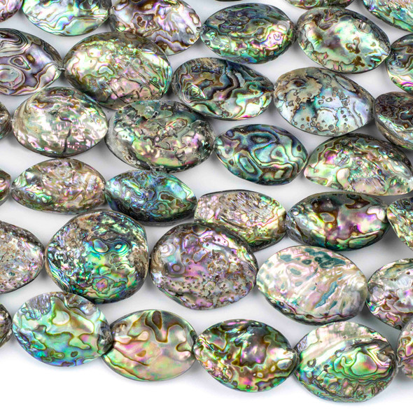 Abalone Paua Shell approximately 30x38-46x66mm Puff Nugget Beads - 16 inch strand
