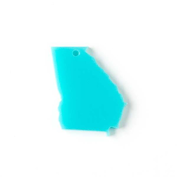 Georgia Acrylic 24x28mm Turquoise Blue State Pendant - 1 per bag