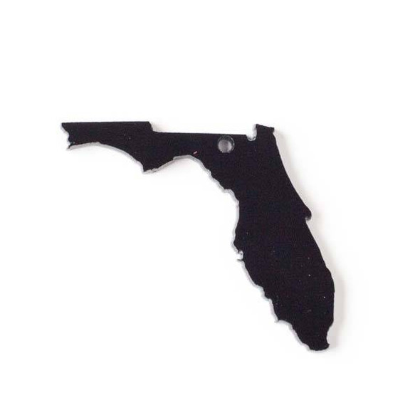 Florida Acrylic 36x39mm Black State Pendant - 1 per bag