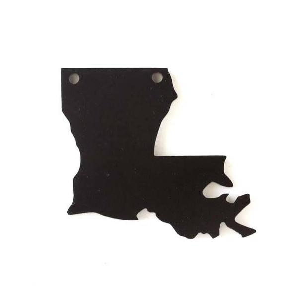 Lousiana Acrylic 36x40mm Black State Pendant - 1 per bag