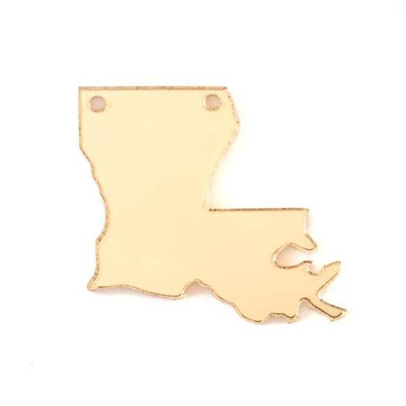 Lousiana Acrylic 36x40mm Gold State Pendant - 1 per bag