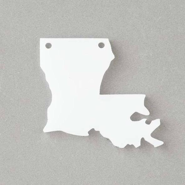 Lousiana Acrylic 36x40mm White State Pendant - 1 per bag