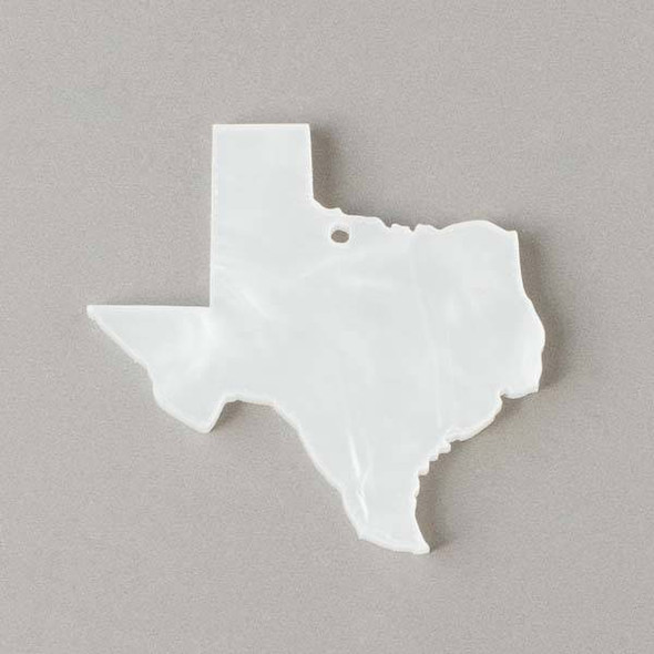 Texas Acrylic 48x49mm Pearl White State Pendant - 1 per bag