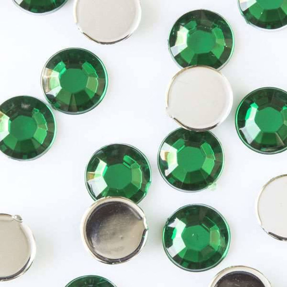 6mm Dark Emerald Green Flat Back Acrylic Crystals