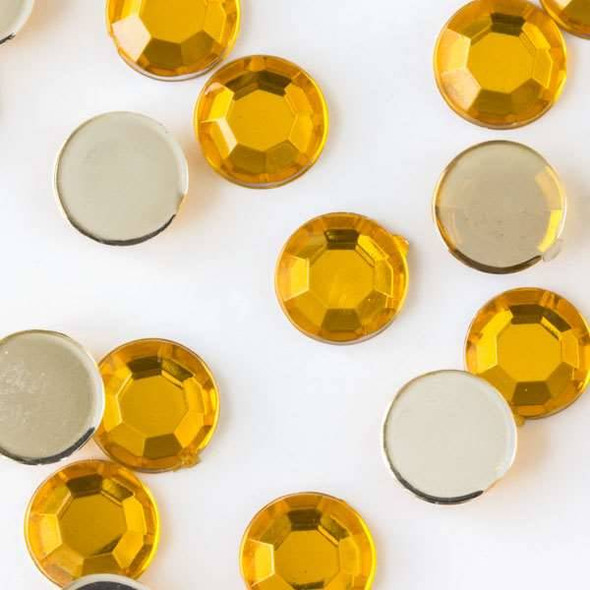 6mm Citrine Yellow Flat Back Acrylic Crystals