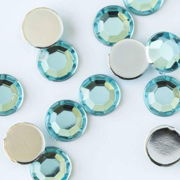 6mm Aqua Blue Flat Back Acrylic Crystals