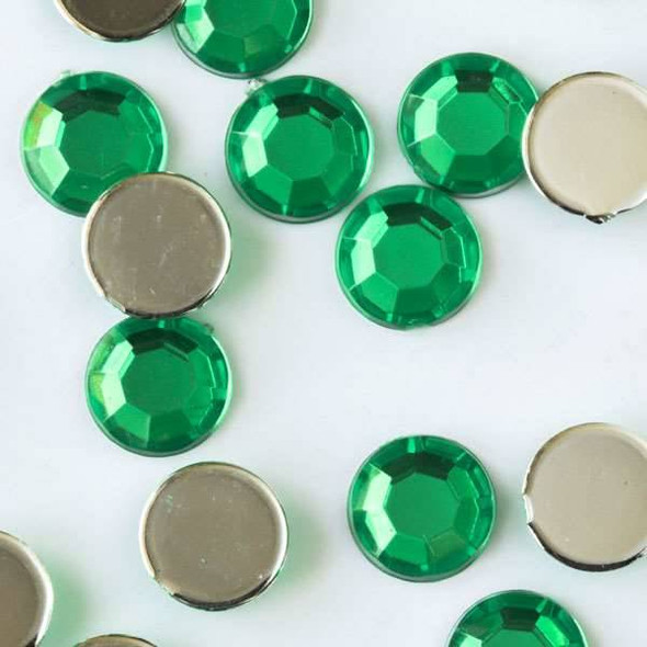 6mm Emerald Green Flat Back Acrylic Crystals