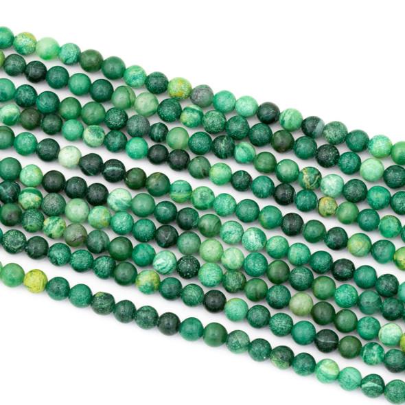 African Green Jasper 4mm Round Beads - 15 inch strand