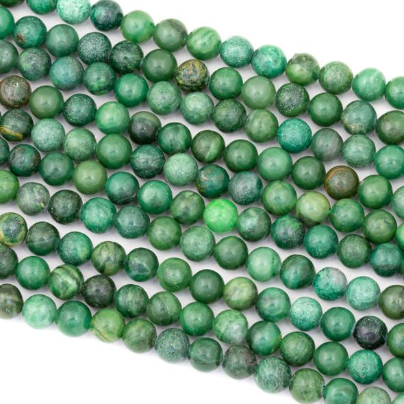 African Green Jasper 6mm Round Beads - 15 inch strand