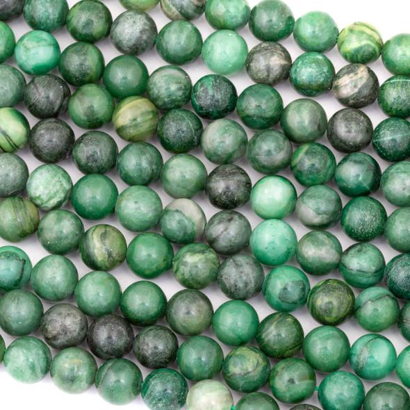 African Green Jasper 8mm Round Beads - 15 inch strand