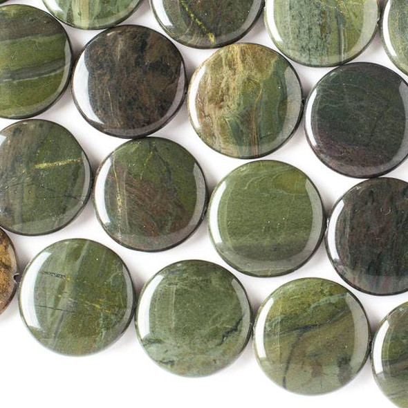 African Green Jasper 25mm Coin Beads - 16 inch strand