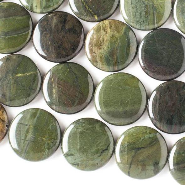 African Green Jasper 25mm Coin Beads - 16 inch strand