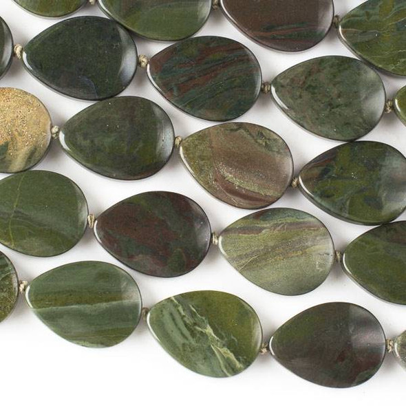 African Green Jasper 18x25mm Teadrop Beads -16 inch knotted strand