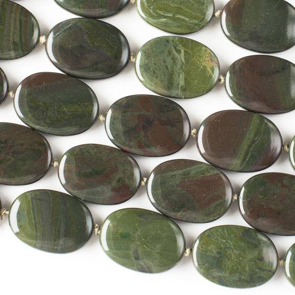 African Green Jasper 18x25mm Oval -16 inch knotted strand
