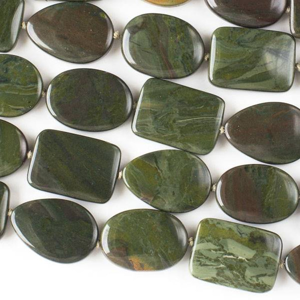 African Green Jasper 18x25mm Alternating Oval, Rectangle, and Teardrop Beads - 16 inch knotted strand