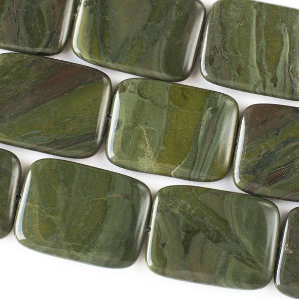 African Green Jasper 30x40mm Rectangle Beads -16 inch strand