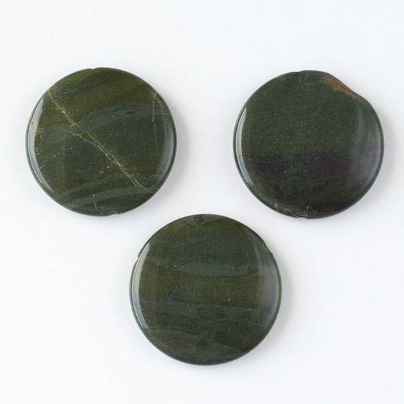 African Green Jasper 35mm Top-Drilled Coin Pendant