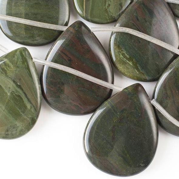 African Green Jasper 35x45mm Top-Drilled Teardrop Beads -16 inch strand