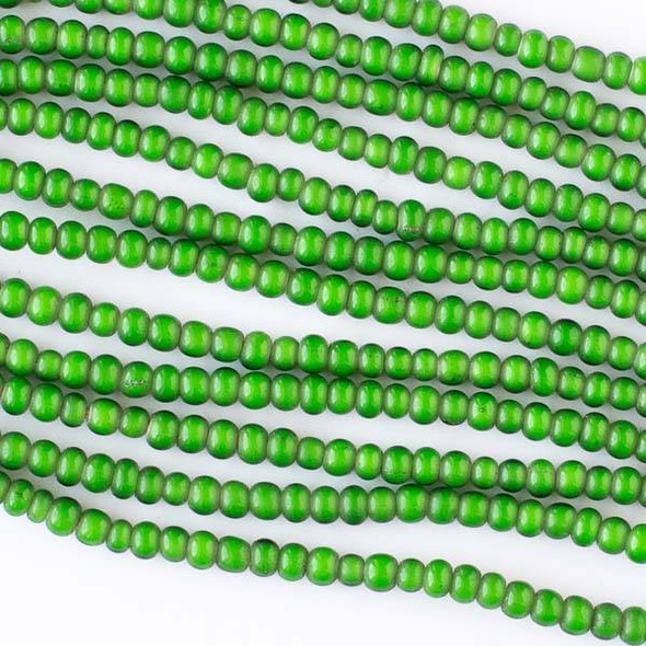 African Glass 3x4mm Green Seed Beads with White Centers - 24 inch necklace