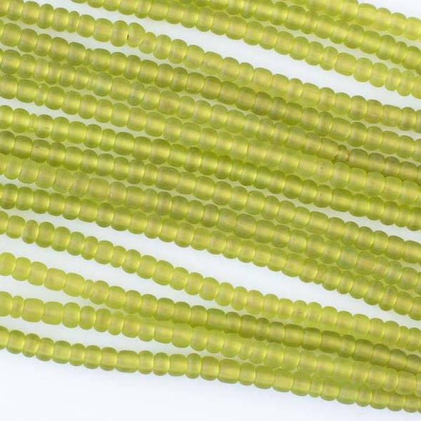 African Recycled Glass 3x4mm Lime Green Rondelle Beads - 24 inch necklace
