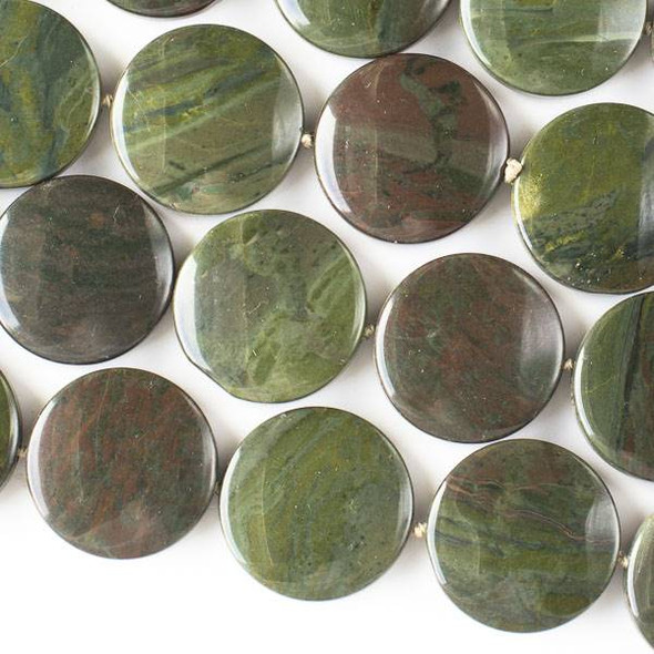 African Green Jasper 25mm Coin Beads - 16 inch knotted strand