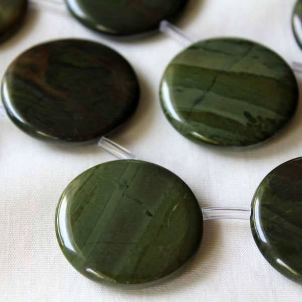 African Green Jasper 30mm Top-Drilled Coin Beads -16 inch strand