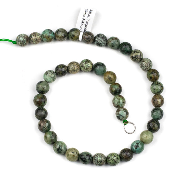African Turquoise 10mm Faceted Round Beads - 15 inch strand