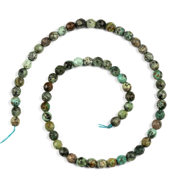 African Turquoise 6mm Faceted Round Beads - 15.5 inch strand