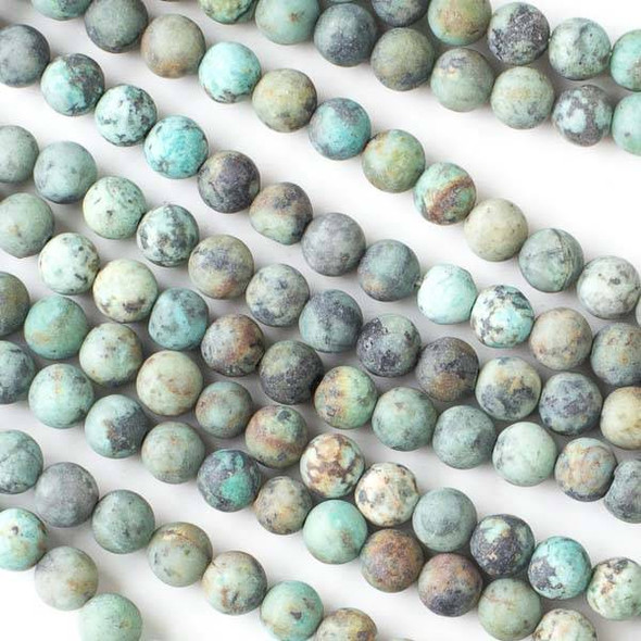 Matte African Turquoise 6mm Round Beads - 16 inch strand