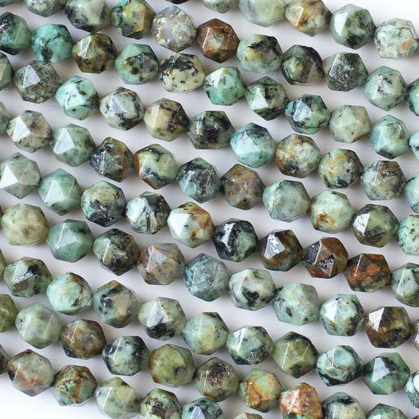 African Turquoise 6-8mm Simple Faceted Star Cut Beads - 15 inch strand