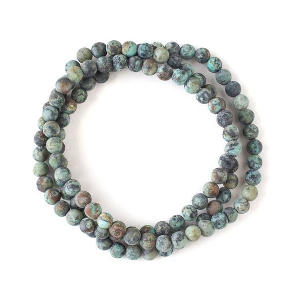 Matte African Turquoise 6mm Mala Round Beads - 29 inch strand