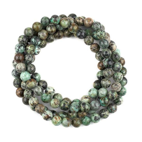 African Turquoise 8mm Mala Round Beads - 36 inch strand