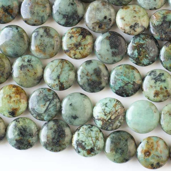 African Turquoise 14mm Coin Beads - 16 inch strand