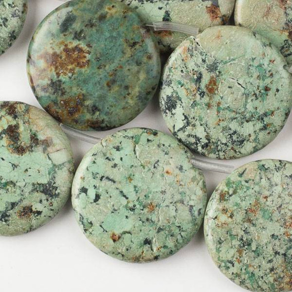 African Turquoise 35mm Top-Drilled Coin Beads - 16 inch strand