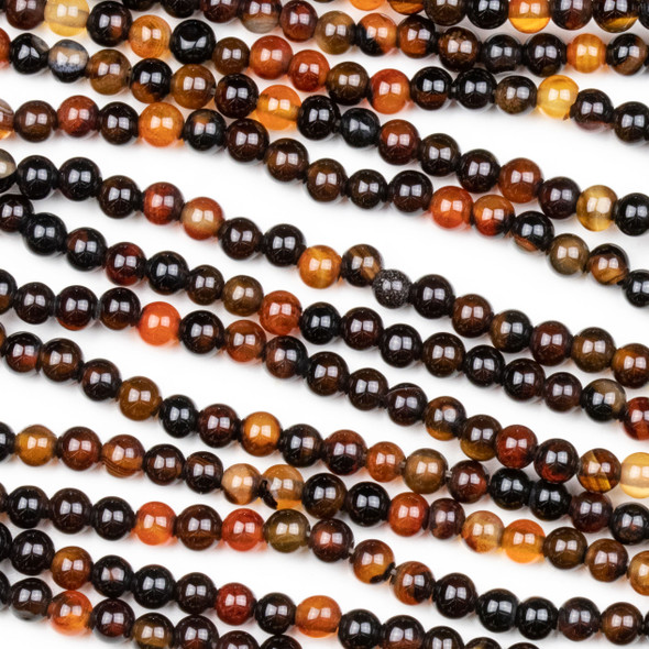 Red and Black Agate 4mm Rounds - 15.5 inch strand