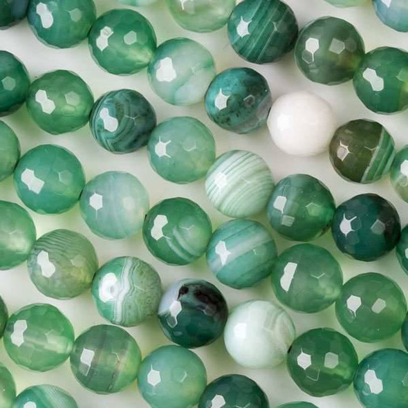 Green Stripe Agate 8mm Faceted Rounds