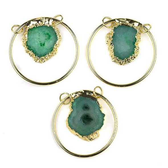 Green Agate Slice and Gold Plated 45mm Hoop Pendant with Open Jump Rings - 1 per bag