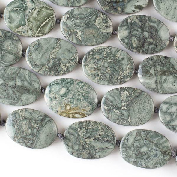 "African Green Grey Brecciated Jasper 18x25mm Knotted Oval -16"" Strand"