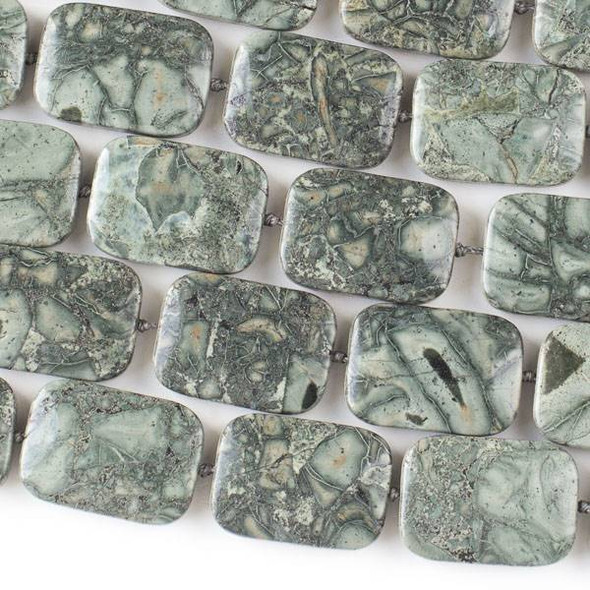 "African Green Grey Brecciated Jasper 18x25mm Knotted Rectangle -16"" Strand"