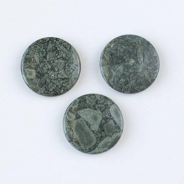 African Green Grey Brecciated Jasper 35mm Top Drilled Coin Pendants - 12 per bag