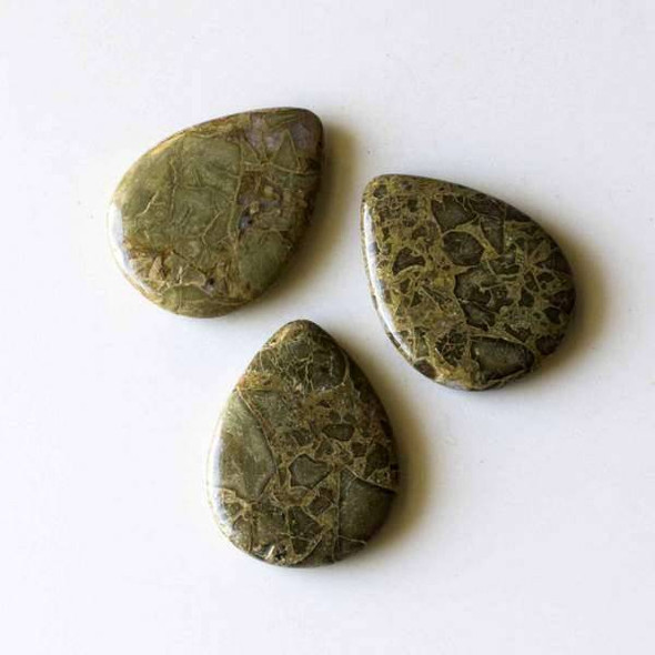 African Green Brecciated Jasper 30x40mm Top Drilled Teardrop Pendant