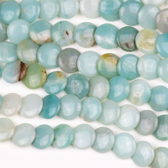 Amazonite 12mm Overlapping Coin/Lentil Beads - 16 inch strand