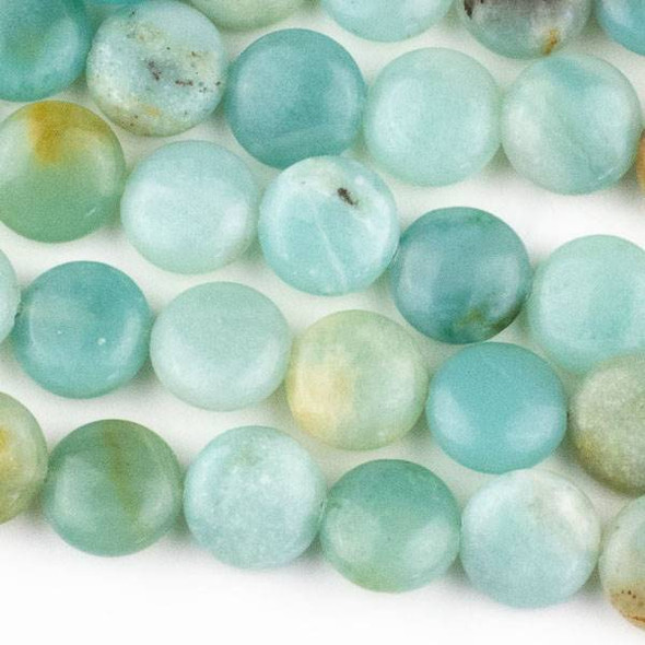 Amazonite 10mm Coin Beads - approx. 8 inch strand, Set A