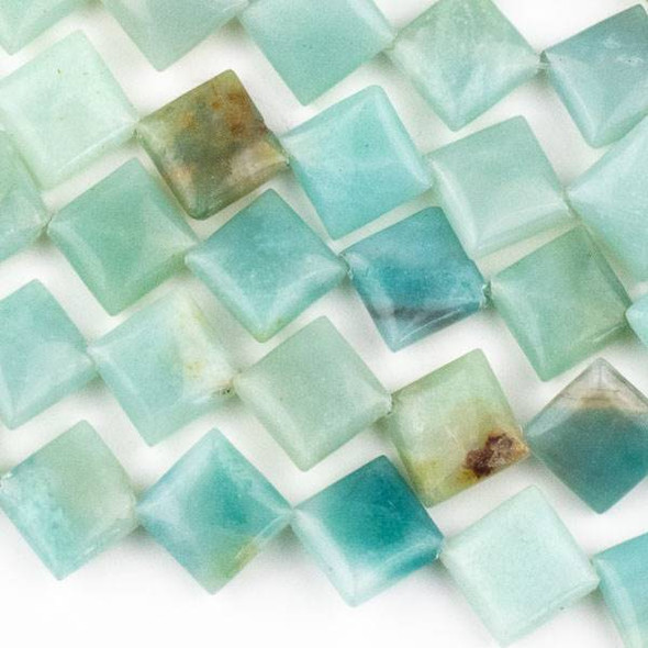 Amazonite 10mm Diagonal Drilled Square Beads - approx. 8 inch strand, Set A