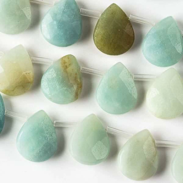 Amazonite 12x15mm Top Drilled Faceted Teardrop Beads - approx. 8 inch strand, Set B
