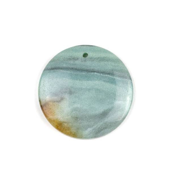 Multicolored Amazonite 40mm Top Front to Back Drilled Coin Pendant with a Flat Back - 1 per bag