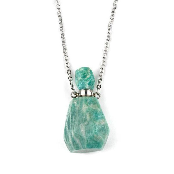 Amazonite 19x36mm Faceted Perfume Bottle Necklace with Natural Silver Stainless Steel Chain