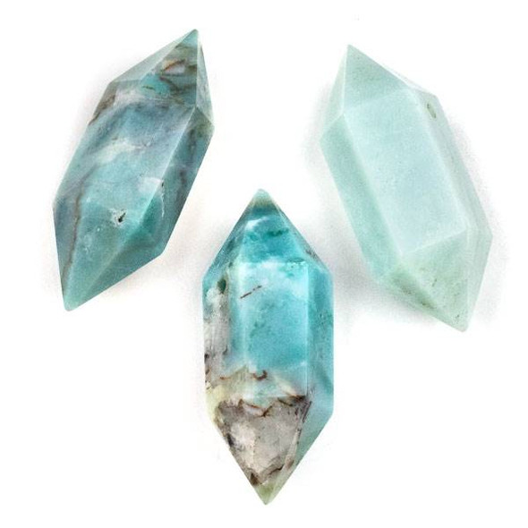 Amazonite 27x70mm Extra Large Hexagonal Double Point Pendant - 1 per bag